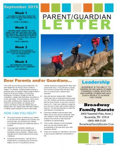 Parent Letter September 2016